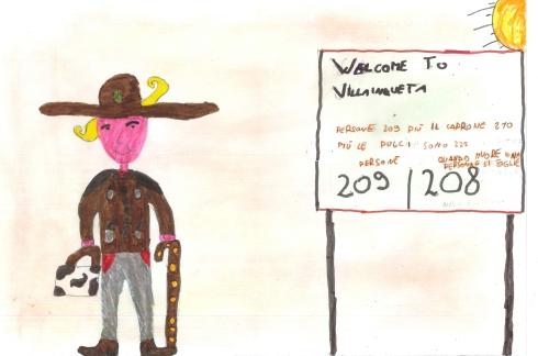 Johnny Dream osserva il cartello di Benvenuto - Disegnato da Vincenzo